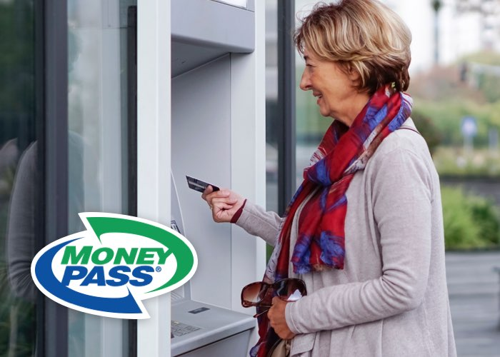 Woman at ATM using moneypass